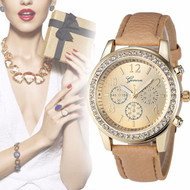 Chronograph Classic Round Ladies Women Crystals Watch