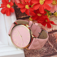 Ladies Casual Geneva Checkers PU Leather Quartz Analog Wrist Watch
