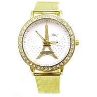 Crystal Eiffel Tower Gold Stainless Steel Mesh Band Watch