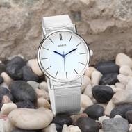 Ladies Sleek Simple Sexy  Casual Stainless Steel Watch Silver