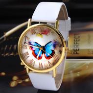 Fashion Butterfly Leather Wrist Watch