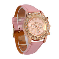 Crystal Dial Leather Wrist Watch