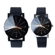Mens and Womens Quartz Dial Clock Leather Wrist Watch Set
