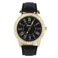 Fashion Women Geneva Rhinestone Leather Band Quartz Wrist Watch