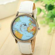 Global Traveler Map Denim Fabric Band Watch