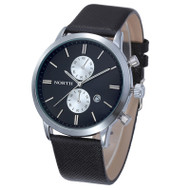 Fashion Men Casual Waterproof Date Leather Hip Hop Watch