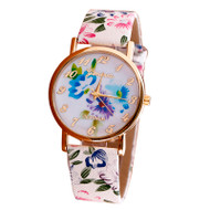 Flower Patterns Leather Band Analog Quartz Vogue Wrist Watch