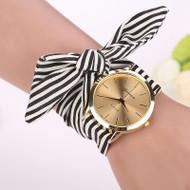 Fashion Women Stripe Floral Cloth Quartz Dial Bracelet Watch