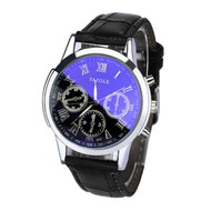Luxury Fashion Leather Mens Blue Ray Glass Quartz Analog  Watch