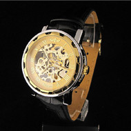 Classic Men's Leather Dial Skeleton Mechanical Bling Watch