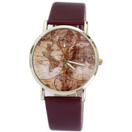 Fashion Women's World Map Leather Analog Quartz Watch