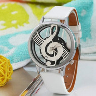 White Leather Note Music Notation Leather  Wristwatch