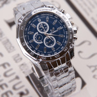 Mens Forever Classic Bling Luxury Stainless Steel Blue Face Watch
