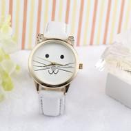 Bling Jewelz Diamond Lovely Cats Face PU Leather Quartz Watch