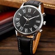 Bling Jewelz Luxury Mens PU Leather Watch Black
