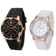 His Hers Black and White Rosegold Chronograph Silicone Watch