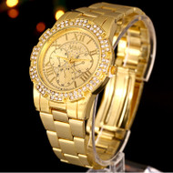 Mens 14k Gold Stainless Steel Iced Out Diamond Cz Watch