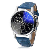 Blue Ice Leather Mens Blue Ray Glass  Watch