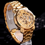 Mens Gold Mechanical Automatic Self-Winding Hollow Bling Watch