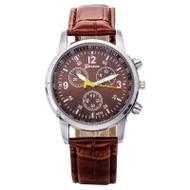 Luxury Stylish Crocodile Leather Men Quartz Bling Watch