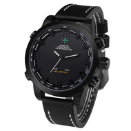 Mens Black Face Leather Casual Hip Hop Wrist Watch Black