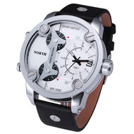 Hip Hop Triple Zone High Fashion Leather Wrist Watch White