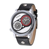 Mens Hip Hop Double Movement Black Leather Wrist Watch Red
