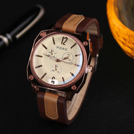 Men's Square Circle Classic Brown Dual Leather Watch