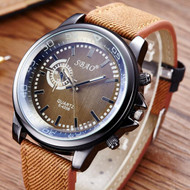 Mens Brown Leather Trim Strap Classic Baller Wrist Watch