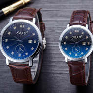 Couple Lovers Watch Movement Leather Strap Wristwatches Set