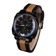 Men's Square Circle Classic Black Dual Leather Watch
