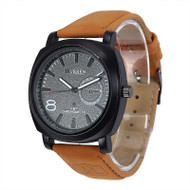 Mens Brown Luxury Leather Strap Classic Baller Wrist Watch
