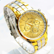Luxury Bling Bling Roman Numerals 14k Gold SS Fashion Watch