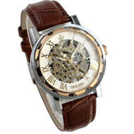 Mens Hip Hop Leather Stainless Skeleton Mechanical Watch
