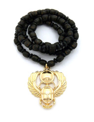 Winged Scarab Rebirth 14k Gold Ancient African Egyptian Pendant