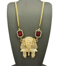 Hip Hop King Tut Ancient African Ruby Pendant Cuban Link