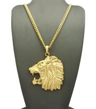 Heart of A Lion Hip Hop 14k Gold Pendant Cuban Link Chain