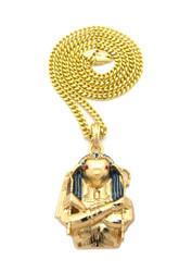 14k Gold Egyptian Horus Bird Cz Pendant w/ Cuban Chain