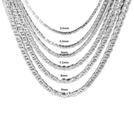 3.4mm 24 Inch Sterling Silver Mariner Link Chain Necklace