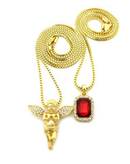 Praying Guardian Angel Ruby Gemstone 14k Gold Hip Hop Pendant