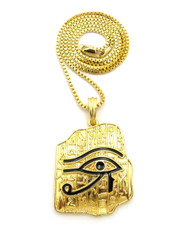 Ancient Eye Of Ra Hieroglyphics Tablet 14k Gold Pendant Chain