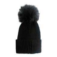 Fuzzy Ball Pom Pom Beanie Hat Black