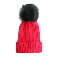 Fuzzy Ball Pom Pom Beanie Hat Red