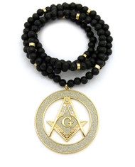 Iced Out Masonic Compass and Square Pendant Gold Rhodium