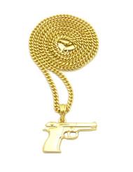 14k Gold Hip Hop 9mm Beretta Pistol Pendant Cuban Link Chain