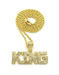 14k Gold Hip Hop King Diamond Cz Bling Pendant Rope Chain