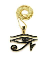 14k Gold Diamond Cz Eye Of Ra Iced Out Pendant Chain Black