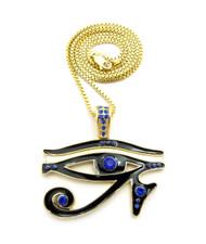 14k Gold Diamond Cz Eye Of Ra Iced Out Pendant Chain Blue