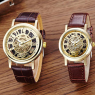 Classic Hollow Skeleton Mechanical Couples Watch Leather
