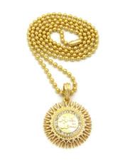 Mens 14k Gold Diamond Cz Allah Chain Pendant